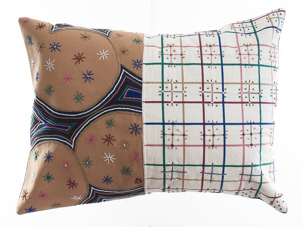 Cuadritos Design Embroidered Pillow on charcoal