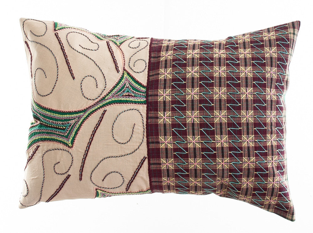 Cuadritos Design Embroidered Pillow on green