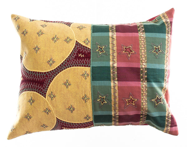 Cuadritos Design Embroidered Pillow on red