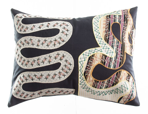 Rios Design Embroidered Pillow on dark brown