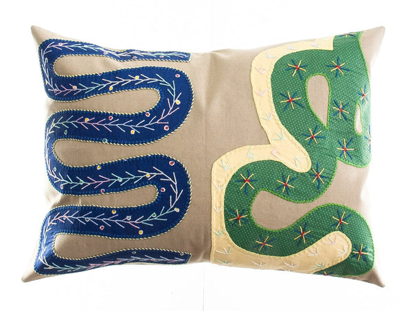 Rios Design Embroidered Pillow on khaki