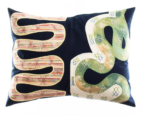 Rios Design Embroidered Pillow on black