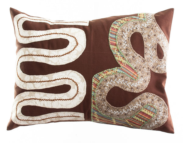 Rios Design Embroidered Pillow on brown