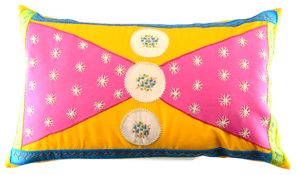 Corbatín Design Embroidered Pillow on goldenrod