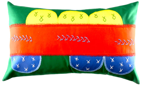 Piedras Lunar Design Embroidered Pillow on green