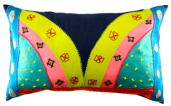 Mariposa Design Embroidered Pillow on blue