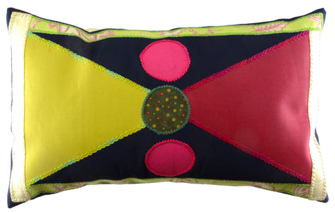 CORBATÍN DESIGN EMBROIDERED PILLOW ON ECRU