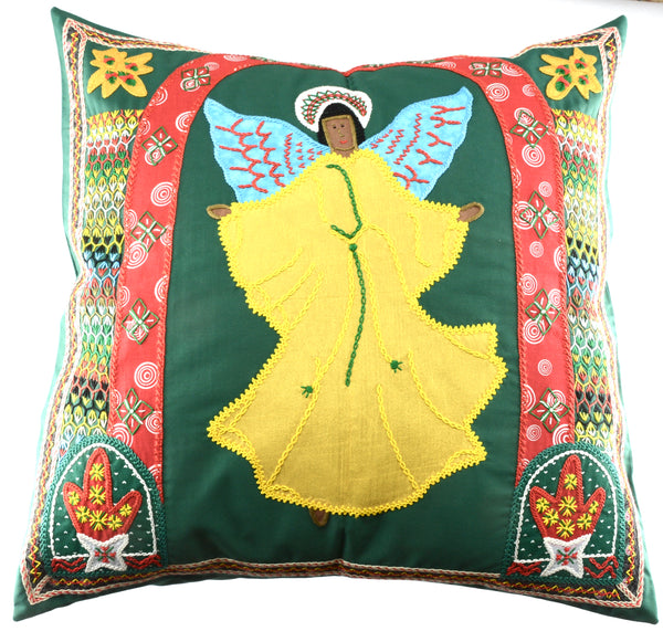 Angel Design Embroidered Pillow on Green