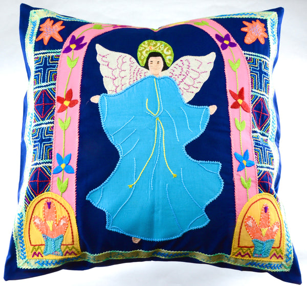 Angel Design Hand-embroidered Pillow on Navy