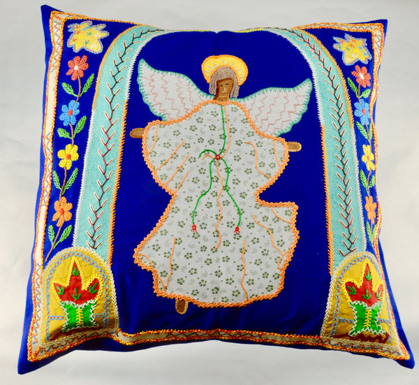Angel Design Embroidered Pillow on Navy