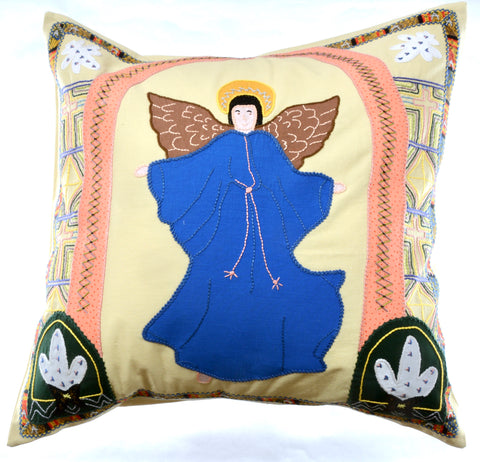 Angel Design Embroidered Pillow on Beige