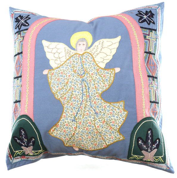Angel Design Embroidered Pillow on Cornflower blue