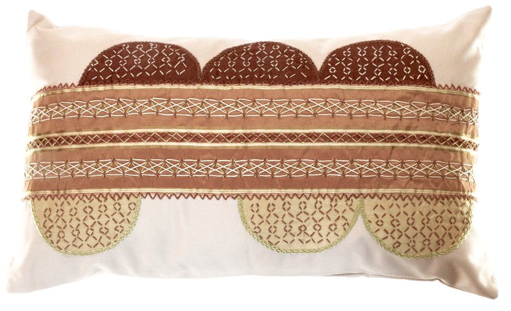 Piedras Lunar Design Embroidered Pillow on khaki