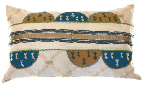 Piedras Lunar Design Embroidered Pillow on ecru