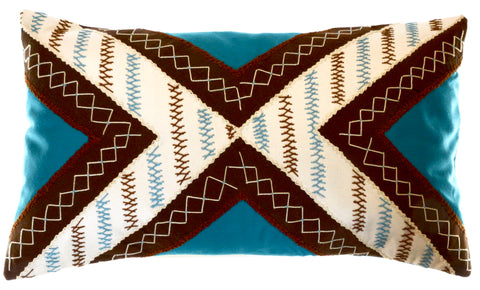 Conexiones Design Embroidered Pillow on teal
