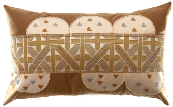 Piedras Lunar Design Embroidered Pillow on cocoa