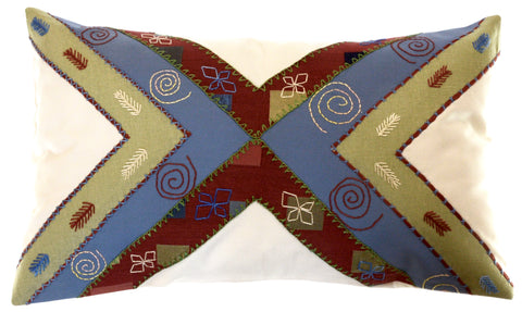 Conexiones Design Embroidered Pillow on ecru