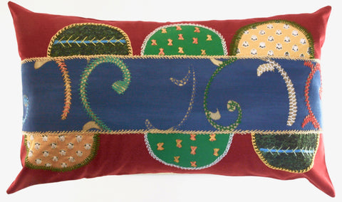 Piedras Lunar Design Embroidered Pillow on red