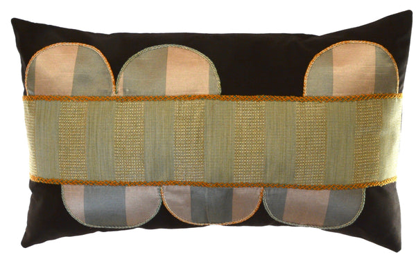 Piedras Lunar Design Embroidered Pillow on dark brown