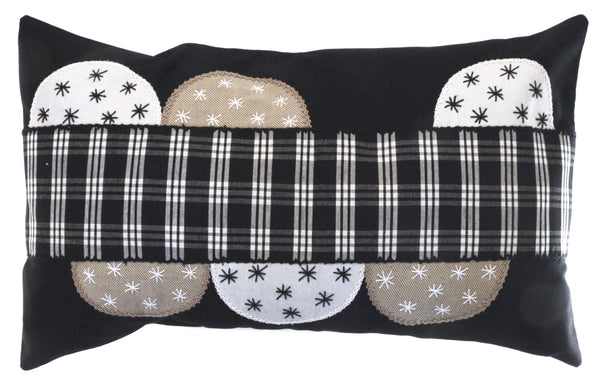 Piedras Lunar Design Embroidered Pillow on black