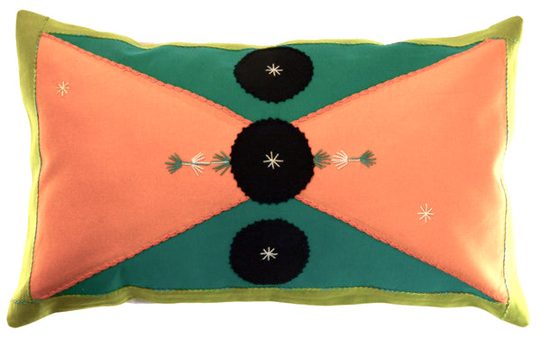 Corbatín Design Embroidered Pillow on lime green