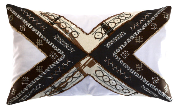 Conexiones Design Embroidered Pillow on white