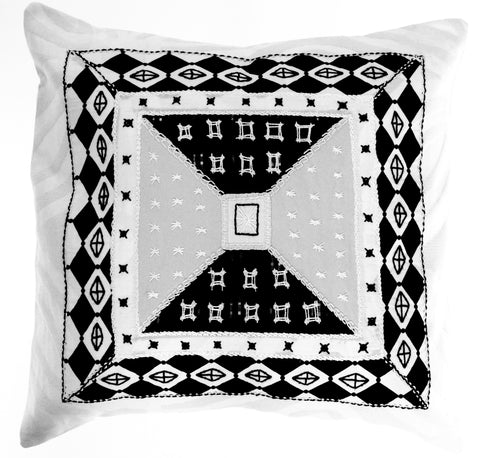 De Colores Design Embroidered Pillow on white