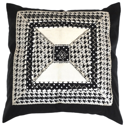 De Colores Design Embroidered Pillow on black