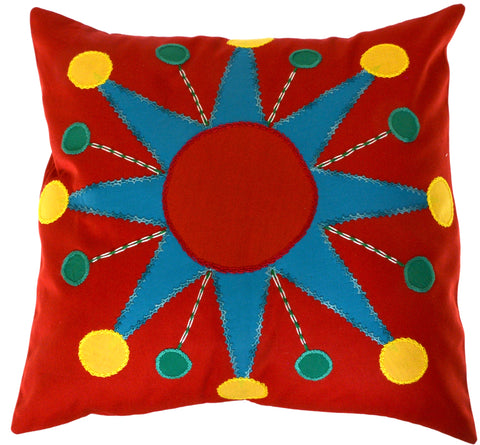 Sol Azul Design Embroidered Pillow on red