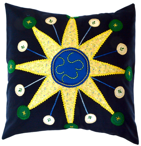 Sol Azul Design Embroidered Pillow on navy
