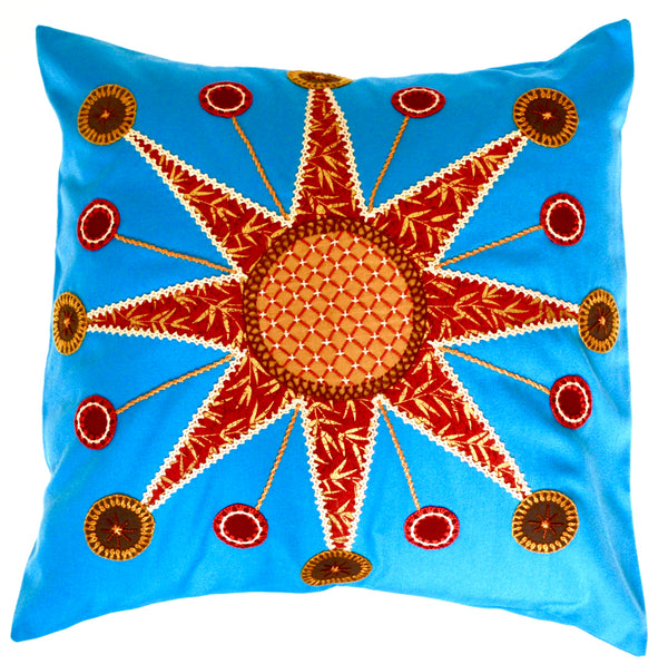 Sol Azul Design Embroidered Pillow on turquoise