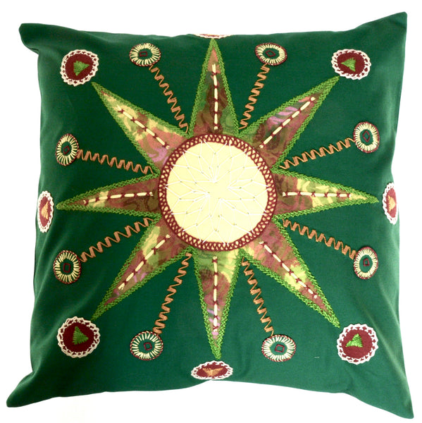 Sol Azul Design Embroidered Pillow on green