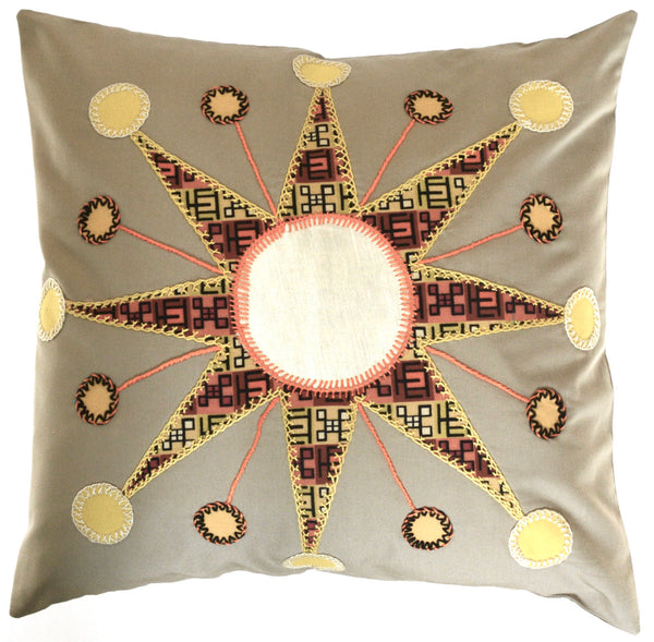 Sol Azul Design Embroidered Pillow on khaki