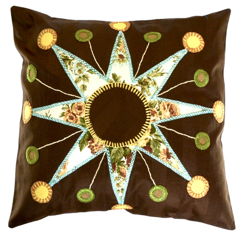 Sol Azul Design Embroidered Pillow on brown