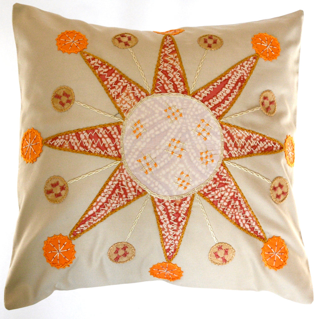 Sol Azul Design Embroidered Pillow on beige