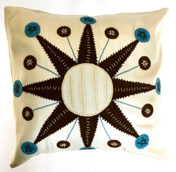 Sol Azul Design Embroidered Pillow on white