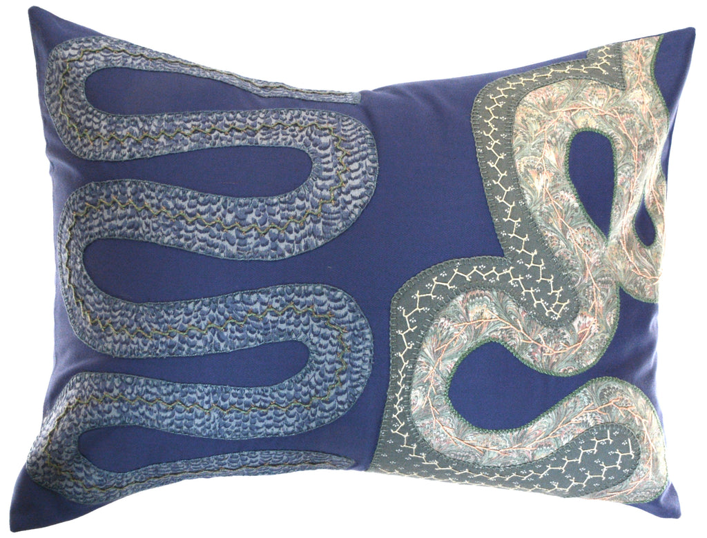 Rios Design Embroidered Pillow on slate blue
