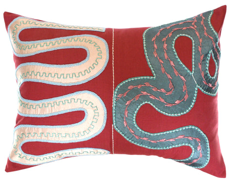 Rios Design Embroidered Pillow on rose