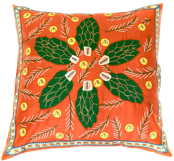 Uvas Design Embroidered Pillow on orange