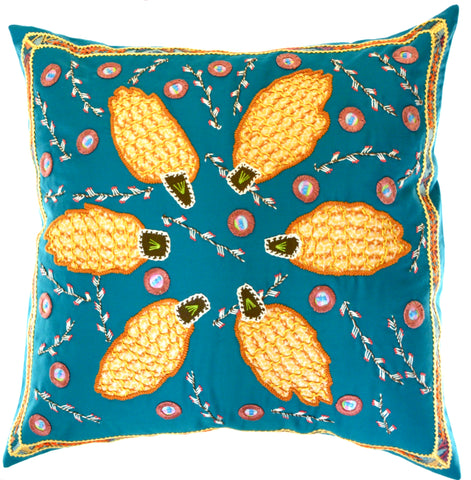 Uvas Design Embroidered Pillow on turquoise