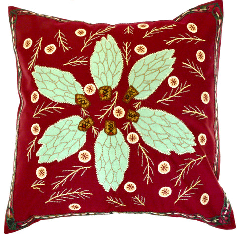 Uvas Design Embroidered Pillow on wine