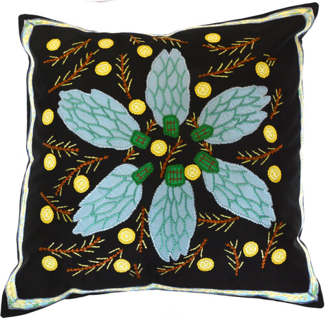Uvas Design Embroidered Pillow on black