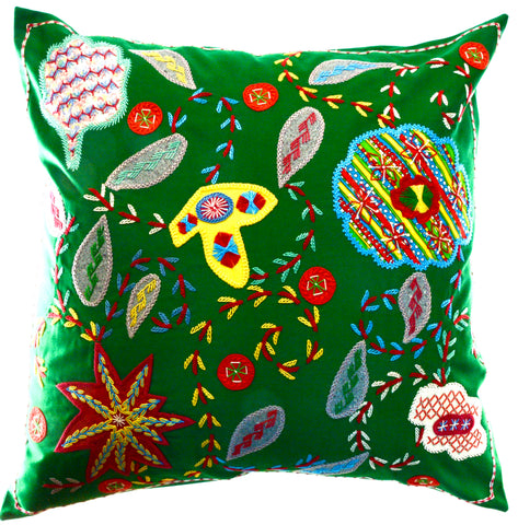 Rosas Design Embroidered Pillow on Green