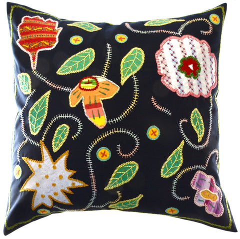 Rosas Design Embroidered Pillow on Black