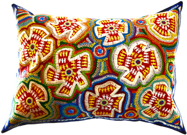 Flores Design Embroidered Pillow on navy