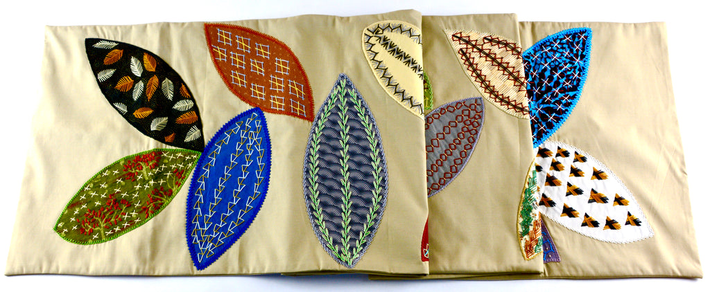 HUELLAS DESIGN EMBROIDERED TABLE RUNNER ON KHAKI