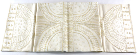 Copas Design Embroidered Table Runner on Ecru