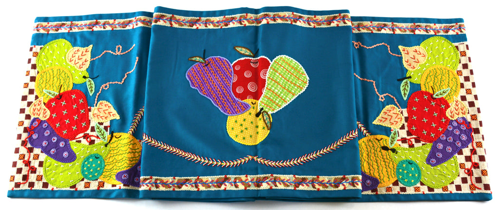 Frutas Design Embroidered Table Runner on teal