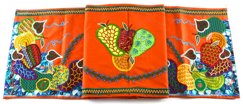 Frutas Design Embroidered Table Runner on orange