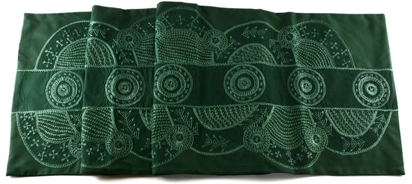 Copas Design Embroidered Table Runner on Green